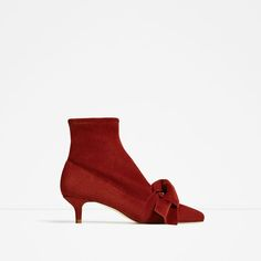 ZARA - SALE - LEATHER KITTEN HEEL ANKLE BOOTS WITH RIBBON