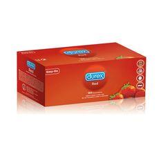 DUREX RED 144 UDS. Durex Red, preservativos con sabor a fresa. Los preservativos Red, con su color rojo y sabor a fresa añaden un toque de diversión a tus relaciones sexuales. Lee el folleto que contiene el interior de este estuche cuidadosamente, en especial si utilizas los preservativos para sexo oral o anal. Utiliza el preservativo una sola vez. Ningún método anticonceptivo puede proporcionar 100% de protección frente al embarazo, VIH (SIDA) u otras enfermedades de transmisión sexual. ...