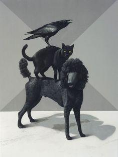 black - dog cat and bird - painting - Eckart Hahn