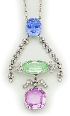 Edwardian Sapphire, tourmaline, beryl, diamond and platinum necklace. Cartier, Paris.