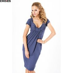 CHOIES Women Autumn 6 Colors Wrap Plunge Short Sleeve Deep V Neck Ruched Knee Length Casual Office Lady Bodycon Dress