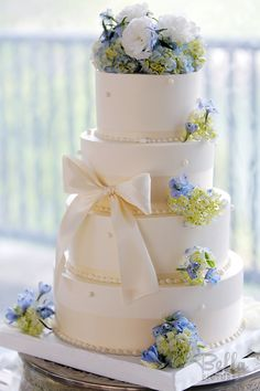 Bows and ribbons on the wedding cake