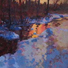 Mark Mehaffey, Late Winter Reflections, acrylic, 24 x 24.