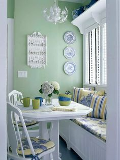 Kitchen Nook  - Green with white and blue. Plaster, Nook, Wall Decor, Dining Table, Home Remodeling Diy, Interior, Design, Furniture, Ideas