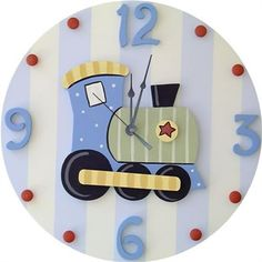 This charming wooden wall clock is a must have for any childs room. This clock adds a touch of style, while being fun and functional! Sweeping hands are silent (no ticking sound.) This clock is part o Clock Art, Diy Clock, Boy Room, Kids Room, Clock For Kids, Kids Clocks, Train Room, Wood Clocks, Panel Art