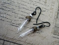 Steampunk Glass Vial Lights Earrings - Vintaj Brass and Arte Metal - Christmas Lights. $14.99, via Etsy.