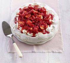 Strawberry Pavlova - I reduced the sugar in the pavlova by about 70 grams and dropped the cream to 250ml and it was still great.