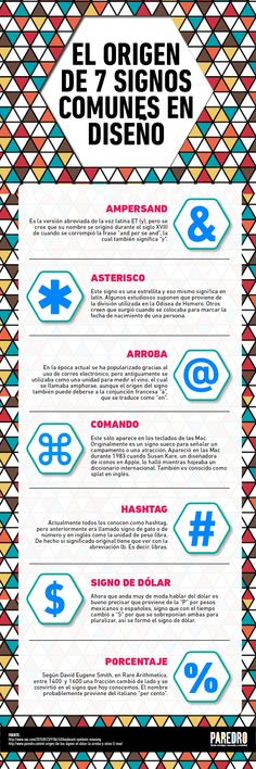Origen de 7 signos comunes en Diseño #infografia #infographic #design