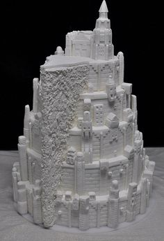 Wedding cake based on Minas Tirith from Lord of the Rings.