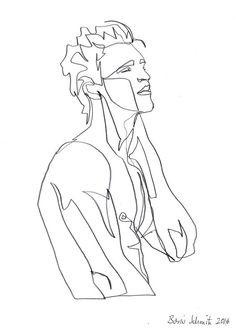 """body 1″, continuous line drawing by Boris Schmitz"