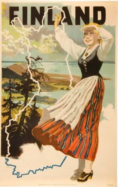 Finnish map after WWII + a girl in a folk costume depicting the map