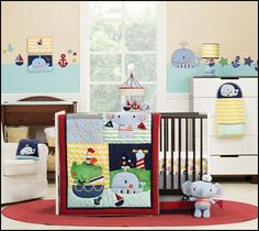 This charming nautical inspired set offers a vivid color pallet with bold shades of blue, green, yellow, orange and red and delightful stripe, zig zag and wave inspired print patterns. Lush velour, canvas, corduroy and fleece fabrics with 3D rope and felt flag accents enhance appliques of adorable elephant, whale and alligator characters on board for a fun sailing adventure.
