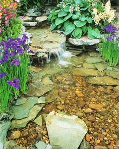 Pond waterfall.