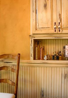 Kitchen of the Day: French Country Kitchen Cabinets (Hand distressed with crackle paint), along with beadboard panels and Venetian plaster walls