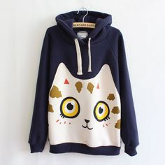 Autumn Winter 2016 Women's Hoodies Printed Cartoon Patch Cat Sweatshirts Casual Outerwear Fashion Coats Women Pullovers Tops