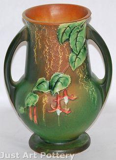 Roseville Pottery Fuchsia Green Vase 898-8 from Just Art Pottery