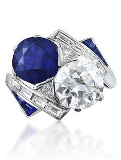 AN ART DECO SAPPHIRE AND DIAMOND RING, CIRCA 1920 I love sapphires and diamonds. http://amzn.to/2tpv7IA