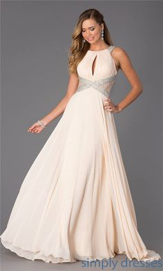 Long Champagne Beaded Lace CD-1113 Prom Dresses 2015