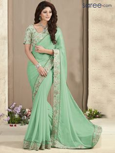 SEA GREEN GEORGETTE SAREE WITH EMBROIDERY WORK