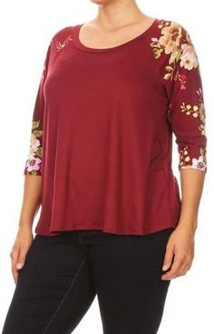 25c02e668c6385 Womens Plus Size Raglan Flowered Tunic Top Maroon Soft Shirt Best Quality –  MomMe and More