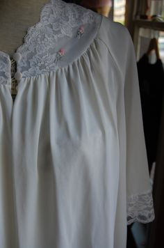 Romantic Vintage Nylon and Lace Bed Jacket by LittleGhostVintage,