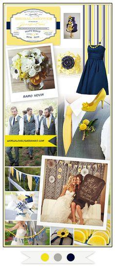 Board Inspiration: A navy, yellow & grey Wedding ; Inspiración: Una boda en tonos Azul marino, Gris y Amarillo