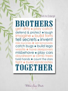 BOYS 8x10 PRINT Twin brothers Nursery Decor by WillowLanePrints, $18.00