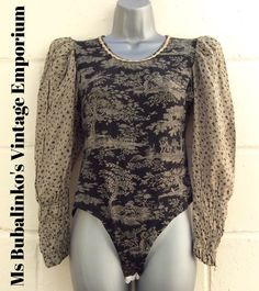 Vintage 90s Black Toile de Jouy Bodysuit Size 8 10 Body Leotard Top