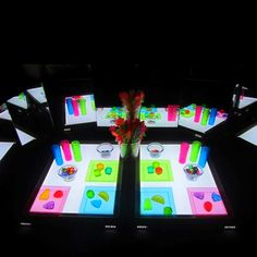 Light/color play at the light tables. Love the mirrors!
