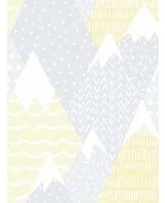 This Mountains Wallpaper by Holden has a Scandinavian inspired design of patterned mountain peaks in soft complimentary tones of yellow, grey and white. Scandinavian Style Bedroom, Denmark Street, Mountain Wallpaper, Pattern Matching, Paper Wallpaper, High Quality Wallpapers, Over The Rainbow, White Patterns, Playroom