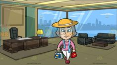 A Mature Woman Finishing Her Shopping Spree At An Executive Office With A View Of The City:  A woman with gray hair wearing a pair of white pearl earrings pink sweatshirt white pants yellow hat with white band light blue scarf around her shoulders red shoes smirks while carrying multiple shopping bags in her hands. Set in inside an executive office with green and dark beige walls glass windows overlooking the city lighted panel ceiling black chair and sofa brown desk and table and a yellow…