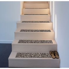 """Modern Scroll Non-Slip Stair Treads - On Sale - Overstock - 29256031 - 8.6"""" x 26"""" (Set of 13) Wood Stair Treads, Carpet Stair Treads, Carpet Stairs, Stair Treds, Staircase Makeover, Staircase Remodel, Basement Makeover, Stair Renovation, Basement Stairs"""