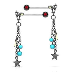 Clear PAIR Double Heart Gem Nipple Rings Shields Barbells 14g Pink Red or Aqua