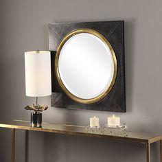 Black Wall Mirror, Mirror Art, Beveled Mirror, Industrial Mirrors, Urban Industrial, Contemporary Wall Mirrors, Modern Contemporary, Mirror Decor Living Room, Copper Frame