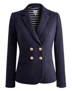 Joules Womens Jersey Blazer, Marine Navy.                     We've created a soft tweed style jersey to make a comfortable, wearable fabric that is perfect for this double breasted blazer. In a classic herringbone and lined with a Joules signature floral print this shorter, smart jacket is a key, investment piece that will be worn season after season.