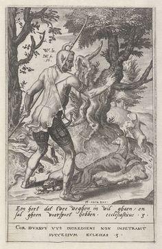 Dirck Volckertsz Coornhert | Niemand kan twee meesters dienen, Dirck Volckertsz Coornhert, Hieronymus Cock, 1556 | Een zot, verkleed als jager, staat op een tweesprong. Hij heeft een stok in de hand en een jachthoorn aan zijn gordel. Naast hem zijn jachthond. Op beide wegen rent een konijn van hem weg. De zot moet nu kiezen welk dier hij zal najagen. Het is dwaas met maar één hond twee hazen na te jagen. De prent valt te interpreteren als een allusie op het leven van de mens. Hij zal op een…