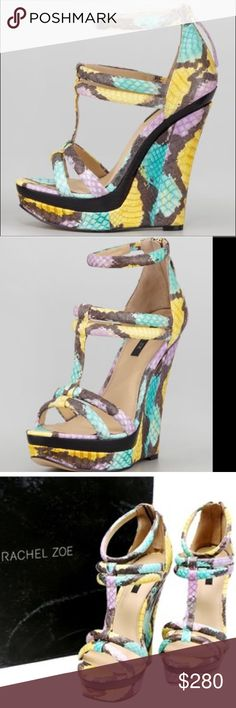 """Thinking about selling these... Rachel Zoe platform wedge captivates and enchants. Multi Colored snakeskin enhances a bold profile that is cut through by a wooden midsole. Colored snakeskin. 5 3/4"""" self-covered heel, 3/4"""" platform; 4 1/4"""" equivalent. T-strap connects toe straps to vamp. Ankle strap with elastic inset. Back zip. Cushioned leather lining. Leather outsole. """"Katia"""" Rachel Zoe Shoes Sandals"""