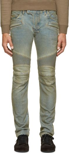 Balmain: Blue Distressed & Ribbed Biker Jeans | SSENSE