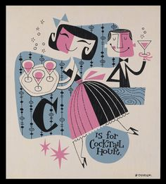 """""""c is for cocktail""""  more vintage cocktailery can be found in the cheers section of my shop: https://www.etsy.com/shop/portraitsecrets"""