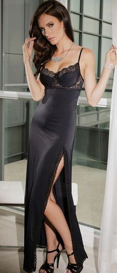 Beautiful Black Lingerie Long Gown
