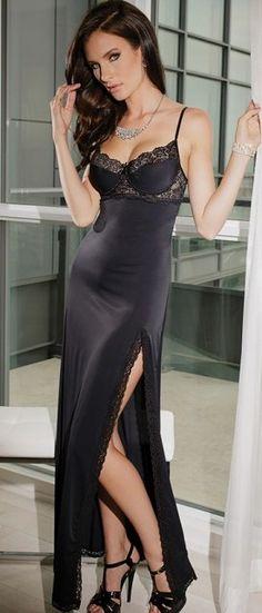 Beautiful Black Lingerie Long Gown