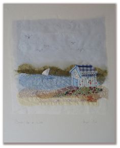 Hand-made embroidery by Abigail Mill. Modern Embroidery, Embroidery Applique, Machine Embroidery, Embroidery Designs, Felt Pictures, Fabric Pictures, Felt House, Exhibition Ideas, Raw Edge Applique