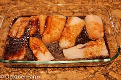 Asian Cod with honey, soy sauce, rice vinegar, lemon juice, sesame oil and grated fresh ginger marinade