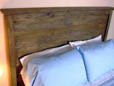 15 Easy-to-Make DIY Headboard Projects: This wooden headboard was made using basic tongue-and-groove construction. We distressed it, then gave it a weathered barn-wood finish, but it could be painted or stained any color. From DIYnetwork.com