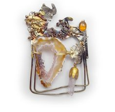Crystal Cave amber and amethyst crystal Pin  Brooch  in Sterling Married Metals by Cathleen McLain McLainJewelry by mysticafelicity on Etsy