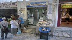 Real food, unadulterated. The butcher, next to the fishmonger, next to the green grocer. I know that the baker is in the same street. What more does one want? Ermoupolis, Syros. #syros