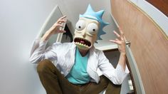 """Raise your cosplay game from """"meh"""" to """"yeah"""" with a 3D printed mask for extra authenticity. Here are 30 cool cosplay masks to 3D print. Halloween 2018, Halloween Masks, Halloween Pics, Costume Halloween, Halloween Makeup, Rick Sanchez Costume, Rick And Morty Costume, 3d Printed Mask, Ricky Y Morty"""