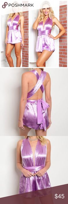 """New multi-way lavender satin romper . Brand new from my boutique  . Model is wearing the exact product  . Also available in other colors  . Brand is solaris which retails at Nasty Gal, ASOS, Hello Molly, Sabo Skirt, etc.               Any questions? Don't hesitate to ask  ✨ Use the """"buy now"""" or """"add to bundle"""" feature to purchase ✨ ASOS Pants Jumpsuits & Rompers"""