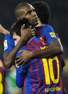Lionel Messi and Eric Abidal, FC Barcelona God Of Football, Football Icon, Football Quotes, World Football, Football Soccer, Fc Barcelona, Barcelona Football, Football Accessories, Leo