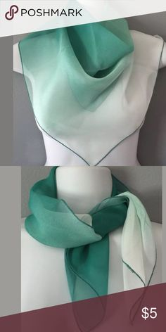 Vintage Sheer Green Headscarf Neck scarf Vintage green nylon sheer neck scarf / headscarf  21 inches x 21 inches Square  ombre colors green and white  great condition Vintage Accessories Scarves & Wraps